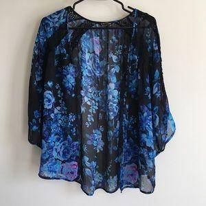 Floral Print Sheer Kimono Cardigan